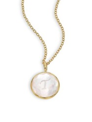 Ippolita Lollipop Mother Of Pearl Clear Quartz And 18K Yellow Gold Letter 'T' Charm