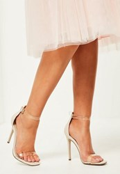 Missguided Nude Clear Rounded Strap Barely There Heels Pink