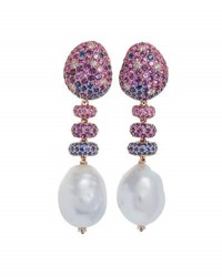 Margot Mckinney Jewelry Bliss Sapphire And Baroque Pearl Drop Earrings With Diamonds