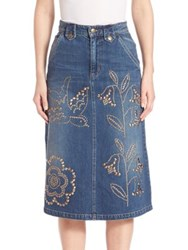 Red Valentino Denim Embellished Skirt Blue