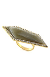 Louise Et Cie 'Octagon Stones' Ring Gold Horn Crystal