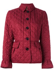 Burberry Button Up Puffer Jacket Red