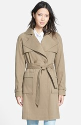 Women's Kristen Blake Belted Cotton And Tencel Trench Coat Mushroom