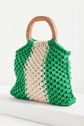 Urban Outfitters Wood Handle Stripe Macrame Tote Bag Green
