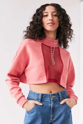 Silence And Noise Take Down Funnel Neck Mesh Top Pink