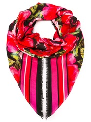 Balmain Rose Print Scarf Red