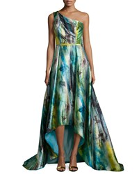 Pamella Roland Watercolor Floral One Shoulder High Low Gown Fern Multi