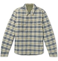 Outerknown Evolution Reversible Organic Cotton Flannel And Quilted Shell Jacket Green