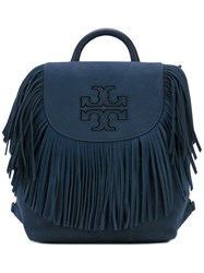 Tory Burch Harper Fringe Backpack Women Suede One Size Blue