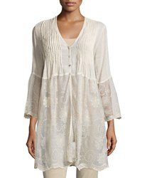 Liquid By Sioni Long Lace Trim Button Front Cardigan Natural