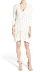 Women's Lamade V Neck Cable Knit Sweater Dress Egret