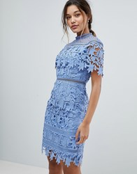 Chi Chi London Lace High Neck Mini Dress In Cornflower Blue Blue