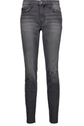 Current Elliott The Mamacita Distressed High Rise Skinny Jeans Dark Gray