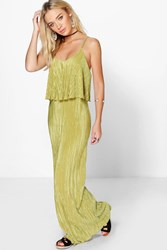 Boohoo Double Layer Crinkle Maxi Dress Olive