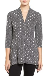 Chaus Women's 'Maritime Dot' Print V Neck Handkerchief Hem Top