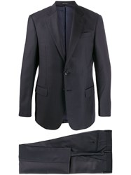 Giorgio Armani Notched Lapels Textured Suit Blue