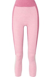 We Me The Sunrise Cropped Color Block Stretch Jersey Leggings Pink