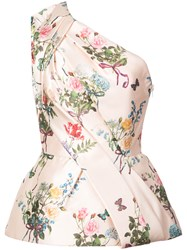 Monique Lhuillier One Shoulder Floral Print Blouse Pink And Purple