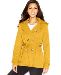 Madden Girl Madden Girl Hooded Double Breasted Trench Coat Banana Yellow