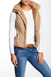 Coalition La Bundle Up Faux Fur Lined Hooded Vest Beige