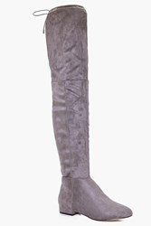 Boohoo Flat Tie Back Over The Knee Boot Grey