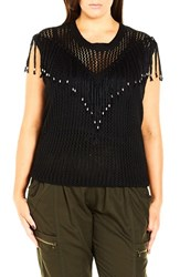 City Chic Plus Size Women's 'Fringe Fever' Sleeveless Sweater Black