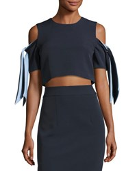 Milly Ansley Cold Shoulder Stretch Crepe Cropped Top Blue Pattern