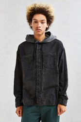 Urban Outfitters Uo Acid Wash Hooded Flannel Button Down Shirt Black