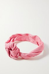 Cult Gaia Turband Knotted Linen Headband Pink
