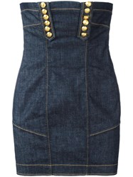 Dsquared2 Strapless Denim Mini Dress Blue