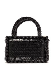 Shrimps Pax Shell Sequin And Faux Pearl Embellished Bag Black