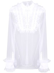 Viktor And Rolf Sheer Ruffled Blouse White