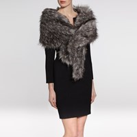Gina Bacconi Sparkle Metallic Faux Fur Slot Through Scarf Black Silver