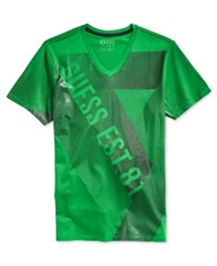 Guess Men's Linear Graphic Print Logo V Neck T Shirt
