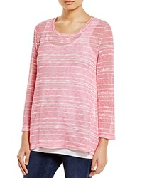 Nally And Millie Striped High Low Sweater Pink White