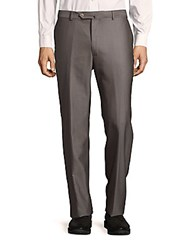 Ermenegildo Zegna Wool And Silk Straight Fit Pants Grey
