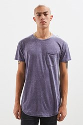 Urban Outfitters Uo Burnout Long Loose Scoopneck Tee Navy