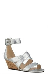 Nine West Women's Piwow Wedge Sandal Silver Faux Leather