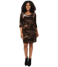 Karen Kane Plus Size Gold Dust Burnout Dress Black Brown Women's Dress