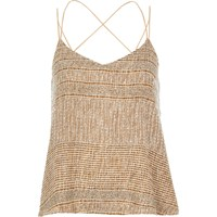 River Island Womens Gold Embellished Cami
