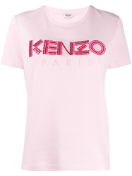 Kenzo Embroidered Logo T Shirt Pink
