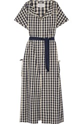 Solid And Striped Poppy Delevingne Gingham Cotton And Linen Blend Poplin Dress Navy