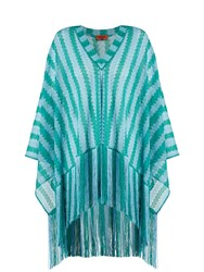 Missoni Mare Striped Oversized Fringed Fine Knit Poncho Green Multi