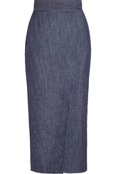 Adam By Adam Lippes Wrap Effect Denim Midi Skirt