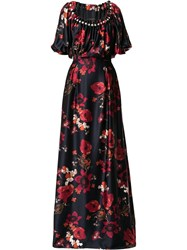 Mother Of Pearl Long Floral Print Dress Black