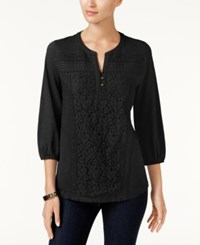Styleandco. Style Co Petite Lace Front Henley Top Created For Macy's Deep Black