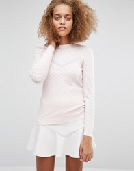 Warehouse Pointelle Puff Sleeve Jumper Pink