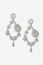 Topshop Ornate Stone Drop Earrings Clear
