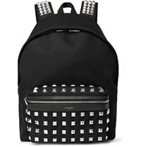 Saint Laurent Studded Leather Trimmed Cotton Twill Backpack Black