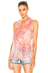 Zimmermann Winsome Ruffle Top In Pink Ombre And Tie Dye Pink Ombre And Tie Dye